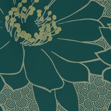 Glitter Blooms Wallpaper - Giant blossoms give walls a bold look. Gold accents give the desing glowing depth.