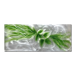 Pure Art - Ribbon of Leaves Modern Wall Art - Ribbons of light intertwine with silver and green in this botanically inspired metal wall artwork. The center features two clusters of leaves with a trail of green and silver flowing toward the upper and lower portions of this vertically oriented piece. The artist's skillful use of polishing and grinding techniques present many layers of contrast, highlights and dimension.Made with top grade aluminum material and handcrafted with the use of special colors, it is a very appealing piece that sticks out with its genuine glow. Easy to hang and clean.
