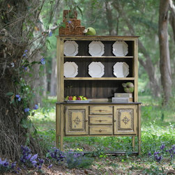 """Bella Server and Hutch - """"Bella"""" is not only functional but charming. She has three drawers and two storage cabinets in the server plus ample serving space for that Thanksgiving turkey. The hutch has bead board backing and shelves designed for displaying your favorite plate collection."""