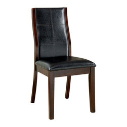 Adarn Inc - 2 PieceModern Durable Cozy Leatherette Seat Back Dining Side Chair - Clean and sleek in modern design, this brown cherry finish chair is a smart furniture choice for the dining area in your home. It features plush leatherette upholstered seat back with decorative stitching on the back, with flared back legs. This chair is as functional as it is beautiful. It is available in side chair and counter height chair.