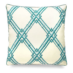 "Bamboo Trellis Embroidery Pillow - Aqua - 20"" - Striking, bold bamboo design is interlocked upon a tan base making an exquisite finishing touch to any well decorated coastal home. Scatter a few upon your sofa or bed for put together look that has a polished and elegant feel. Adding new accent pillows are a designers best kept secret to updating the look of a space fantastically with minimal effort."