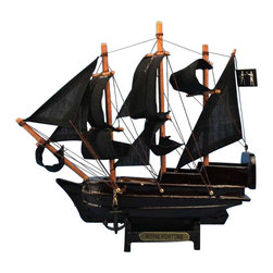"Handcrafted Model Ships - Royal Fortune 7"" - Wooden Pirate Ship Toy - Ready for immediate display"