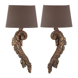 Aidan Gray - Aidan Gray Elinore Wall Sconce Set - Beautiful wall sconces made of wood with a gold flecked Antiqued Brown finish. This pair of hard wired wall sconces were made to look truly authentic with a hand painted finish to mimic the imperfections of a time worn piece.