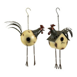 """IMAX CORPORATION - Donnelly Rooster Birdhouses - Set of 2 - The set of two Donnelly rooster birdhouses add whimsy to any tree or porch area and provide a place of rest for feathered friends. Set of 2 in various sizes measuring around 25.75""""L x 16.75""""W x 12.75""""H each. Shop home furnishings, decor, and accessories from Posh Urban Furnishings. Beautiful, stylish furniture and decor that will brighten your home instantly. Shop modern, traditional, vintage, and world designs."""