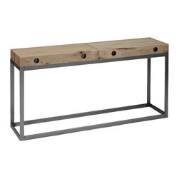 Urban Evolutions - Reclaimed Maple Slab Console - This console is comprised of maple slabs from a suspended factory floor system. The original steel rods that hold each slab together are visible on the ends. Its base is made from natural, locally sourced steel.