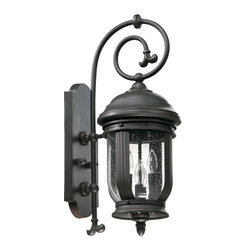 Quorum Lighting - Quorum Lighting Summit Transitional Outdoor Wall Sconce X-59-4-1817 - From the Summit Collection comes this stylish design that blends a number of European inspired details from the elegant scrollwork to the unique dome-shaped lantern. This Quorum Lighting outdoor wall sconce features a dark toned Old World finish paired with a clear seeded glass shade that completes the look.