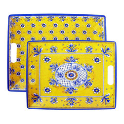 "Le Cadeaux - Benidorm Set of 2 Nesting Melamine Outdoor Serving Trays, Yellow - Le Cadeaux Benidorm Yellow Nesting Melamine Outdoor Serving Trays include the large tray 18"" x 14"" and small tray 16.5"" x 12.5"".  Stunning provincial styling these melamine square dinner plates will enhance any table setting indoors or outdoors.  You will not know its melamine until you pick it up since it looks like ceramic."