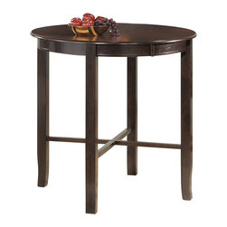 Monarch Specialties - Monarch Specialties 1281 Round Bar Height Dining Table in Cappuccino - Enhance the trendy contemporary look of your casual dining area with this sleek, cappuccino veneer bar height dining table. The counter top table offers ample space for dining or entertaining.