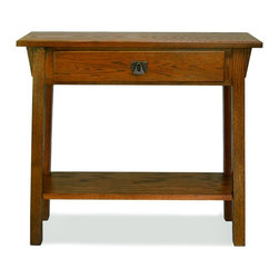 Leick Furniture - Favorite Finds Mission Hall Stand Table in Ru - 1 Bottom shelf. 1 Drawer. Blackened, metal ware pull. Canted post with wedge corbel. Durable wood drawer box and guide. Solid Ash and Oak veneers. Floor clearance: 6 in. H. 30 in. W x 10 in. D x 28 in. H