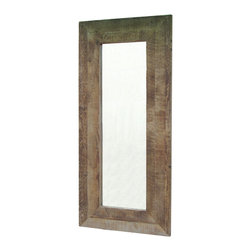 Four Hands - Hughes Mirror - In great design, the tension of contrasting materials makes a piece more exciting. This large mirror is a prime example. Its roughly textured reclaimed wood frame contrasts with the smooth, shiny mirror for rustic-glam appeal.