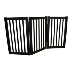 Welland - Welland 3-Panels Extra Tall Wood Panels Folding Pet Gate, 54-Inch , Espresso - This Folding Pet Gate has a folding design that makes it simple to set up and store. The panels of the Folding Pet Gate fold to allow a range in length that accommodates a wide variety of doorways and openings. The elegant pine wood used for this product looks great in any room. The height of this pet gate is low enough to step over for ease of movement from room to room!