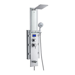 None - Blue Ocean 50-inch 6-nozzle Aluminum Shower Panel Tower - Enjoy a relaxing,comfortable shower experience with this shower panel tower with temperature display. Made of lightweight and durable aluminum alloy,this panel features a rainfall showerhead,handheld shower,six massage nozzles and a spout.