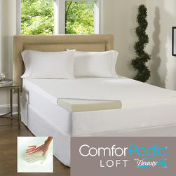 Simmons Beautyrest - Beautyrest 3-inch Memory Foam Topper with Egyptian Cotton Cover - Experience an exceptional night's sleep with the added comfort and support of this responsive foam bedding. This 3 inch ComforPedic Loft mattress topper is paired with a luxurious 300 thread count Egyptian cotton cover.