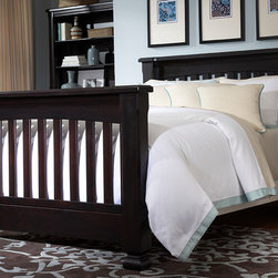 Spice Crib converted into Queen Bed - •Spice features a straight, frame headboard and can convert to a Toddler bed and either a Full or a QUEEN bed!