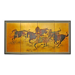 """Oriental Furniture - 36"""" Riders in the Storm on Gold Leaf - Evoke images of the Orient with this soft and beautiful, hand-painted gold leaf rendition of six vibrant horses. Note that no two renderings are exactly the same. Subtle, beautiful hand painted wall art."""