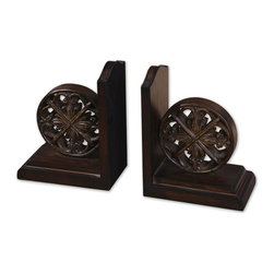 Uttermost - Grace Feyock Chakra Bookends - This set of bookends features a distressed, chestnut brown finish with burnishing and a tan glaze.