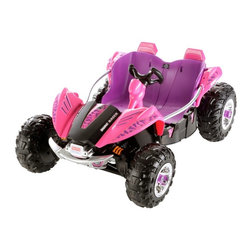 Fisher-Price - Fisher-Price Power Wheels Dune Racer ATV Battery Powered Riding Toy - Purple - B - Shop for Tricycles and Riding Toys from Hayneedle.com! If you want to tell them that the tires on the Fisher-Price Power Wheels Dune Racer ATV Battery Powered Riding Toy - Purple aren't designed to withstand your neighbor's flower beds we won't contradict you. But they'll find out soon enough that this sport dune buggy is equipped to take on hard surfaces wet grass and mildly rocky terrain with it's rugged tires wide wheel base and 12-volt battery motor powering the Monster Traction system. This rechargeable battery provides 5-mph going forwards and 2.5-mph in reverse. For novice drivers there's even a safety lock that only permits a maximum of 2.5-mph in either direction so they can keep their new ride under control. Deep bucket seats and a side rails keep them inside while they explore and power-lock braking brings them safely to a stop. There's even under-the-hood storage so they can have those necessary trail provisions wherever they go. About Fisher-PriceAs the most trusted name in quality toys Fisher-Price has been helping to make childhood special for generations of kids. While they're still loved for their classics their employees' talent energy and ideas have helped them keep pace with the interests and needs of today's families. Now they add innovative learning toys toys based on popular preschool characters award-winning baby gear and numerous licensed children's products to the list of Fisher-Price favorites.
