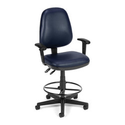 """Skutchi - Computer Task Chair W/Arms and Drafting Kit-Navy - Straton Series Task Chair with Arms 119-VAM-AADK. This task stool features a choice of stylish colors in anti-microbial/anti-bacterial vinyl upholstery for consistent cleanliness in public and health care environments. Users will easily find their perfect position with the back height and pitch adjustment, gas lift seat height adjustment, and the adjustable back support tilt. Also includes built-in lumbar support and 7-position adjustable arms. The molded poly back shell and 3"""" thick vinyl padded seat ensure all-day comfort. The 25"""" 5-star wheeled base adds mobile stability, and the adjustable foot ring gives additional support."""