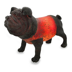 Zeckos - Red Crackled Glass Bulldog Accent Table Lamp - This incredibly detailed bulldog accent lamp is made from cast resin with a deep antique bronze finish, and a crackled glass body that softly glows red when lit. The lamp is 17 inches (43 cm) long, 11.5 inches (29 cm) high and 8 inches (20 cm) wide, making it a perfect accent for end tables, entryways, or to light up a dark corner. It uses one Type C 15 watt max. bulb (included) with an in-line rocker switch on the 67 inch long cord to easily turn it on or off. It's the perfect gift any bulldog lover is sure to admire