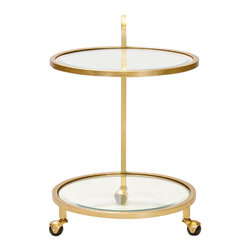 Worlds Away - Worlds Away Gold Leaf One Arm Bar Cart with Glass Shelves LADNER G - Worlds Away Gold Leaf One Arm Bar Cart with Glass Shelves LADNER G