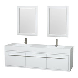 """Wyndham Collection - Axa 72"""" DBL Bathroom Vanity in White, Acrylic Resin Top, Int. Sinks, 24"""" Mirrors - The bold, ultra-modern and visually stunning design of the Axa wall-hung vanity makes a powerful statement while incorporating generous counter space and storage for bath items. The one-of-a-kind styling ensures a high-end look at a very reasonable price and brings an element of contemporary sophistication to a fabulous bathroom remodel. Satin Chrome accents finish the look - It's quite remarkable, and all the more so in person."""