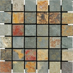 "California Gold Tumbled Mesh-Mounted Slate Mosaic Tiles 2"" x 2"" - 2"" x 2"" California Gold Mesh-Mounted Slate Mosaic Tile is a great way to enhance your decor with a traditional aesthetic touch. This Tumbled Mosaic Tile is constructed from durable, impervious Slate material, comes in a smooth, unglazed finish and is suitable for installation on floors, walls and countertops in commercial and residential spaces such as bathrooms and kitchens."