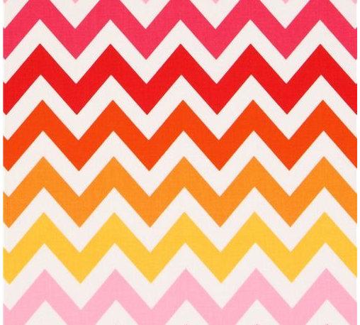 Robert Kaufman zig zag chevron fabric pink orange Remix - stripe fabric from the USA by Ann Kelle with zig-zag pattern