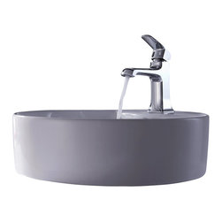 Kraus - Kraus C-KCV-142-15201CH White Round Ceramic Sink and Decorum Basin Faucet - Add a touch of elegance to your bathroom with a ceramic sink combo from Kraus