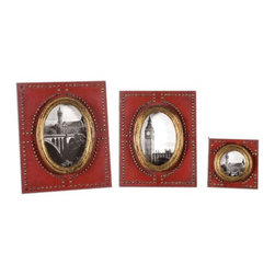 Uttermost - Uttermost Abeo Photo Frames in Burnt Red (Set of 3) - Burnt red with brass accents.
