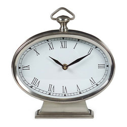 IMAX CORPORATION - Oval Pewter Finish Desk Clock - Oval pewter desk clock with roman numerals. Find home furnishings, decor, and accessories from Posh Urban Furnishings. Beautiful, stylish furniture and decor that will brighten your home instantly. Shop modern, traditional, vintage, and world designs.