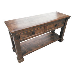 Durango Sofa Table - The Durango Sofa Table is handcrafted out of solid alder wood and distressed to give it a more rustic look.  Tables are available in 8 different stain colors as well as the 4 custom Durango stain/glaze combinations. Table shown has an English Chestnut stain, no glaze and no clavos.   Everything can be customized!