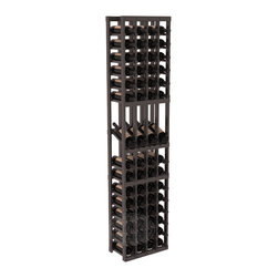 4 Column Display Row Cellar Kit in Pine with Black Stain + Satin Finish - Make your best vintage the focal point of your wine cellar. Four of your best bottles are presented at 30° angles on a high-reveal display. Our wine cellar kits are constructed to industry-leading standards. You'll be satisfied with the quality. We guarantee it.