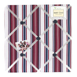 Sweet Jojo Designs - Nautical NIghts Fabric Memo Board - The Nautical NIghts Fabric Memo Board with button detail is a great way to display photos, notes, and postcards on your child's wall. Just slip your mementos behind the grosgrain ribbon to create an engaging piece of original wall art. This adorable memo board by Sweet Jojo Designs is the perfect accessory for the matching children's bedding set.