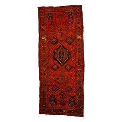 eSaleRugs - 4' 5 x 11' 2 Shiraz-Lori Persian Runner Rug - SKU: 110897899 - Hand Knotted Shiraz-Lori rug. Made of 100% Wool. 30-35 Years.