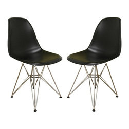 Wholesale Interiors - Baxton Studio Bucket Accent Chairs in Black and Chrome - 2-Piece Set - Scaffold-base Baxton Studio accent chairs are a modern classic favorite. Set of two chairs features bucket style molded plastic seats with matte black finish. Chromed steel bases are super sturdy and gleam with a brilliant shine. Amazingly affordable, these good-looking contemporary chairs will give your dining or work area an instant facelift. One of our most popular white accent chairs is now also available in black! This simple, modern armless chair is constructed with a durable, hard black plastic seat and comes with a steel base finished with a coat of high-shine chrome. Black floor protectors will help in the prevention of scratches on your hard flooring.