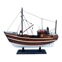 """Handcrafted Model Ships - Fishin Impossible 19"""" - Wood Model Fishing Boat - Not a model ship kit"""
