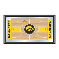 Trademark Global - Framed Basketball Full Court Mirror w Univers - Show your true Hawkeye team spirit with this spectacular wall mirror.  Replicating the home basketball court, it features full bold color graphics and the official NCAA logos.  Great for students and fans, it's perfect for the dorm, game room or behind the bar.  The black wood frame will coordinate with any decor. Great for gifts and recreation decor. Mirror with high quality print. Home court is shown in bold color. Black wrapped wood frames. 26 in. W x 15 in. H (7 lbs.)This College Basketball Officially Licensed  Full Court Mirror is the perfect gift for the Basketball Fan in your life. Full of color and detail this is a must have for your wall!