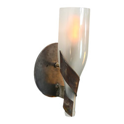"Wine Country Craftsman - Elegance - ""Dulcet"" - Wine Bottle Wall Sconce - Elegance - ""Dulcet"" - Wine Bottle Wall Sconce - 100% Recycled"