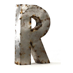 """Kathy Kuo Home - Industrial Rustic Metal Small Letter R 18""""H - Create a verbal statement!  Made from salvaged metal and distressed by hand for an imperfect, time-worn look."""