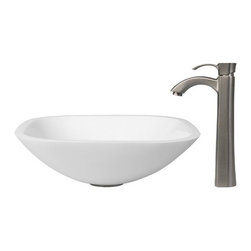 Vigo Industries - Square Vessel Sink with Faucet - Phoenix Stone is a revolutionary new blend of crystallized glass and stone resulting in a highly durable complex material.