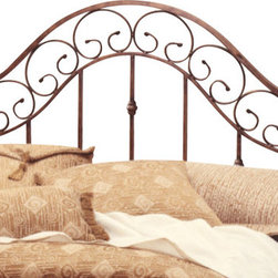 """Hillsdale Furniture - Hillsdale San Marco Poster Headboard - King - A soft combination of an elegant beveled edge, square wood post and stylish metal bed panels framed in 1"""" square tubing finished in a unique brown copper finish make this daybed an absolute winner for any bedroom. Finish: brown copper with light rust pine post."""
