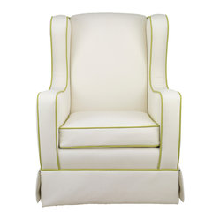 Penelope Glider, White Faux Leather, Spring Green Piping