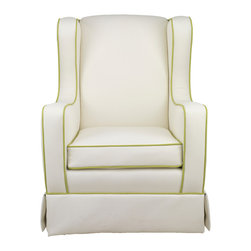 Oilo - Penelope Glider, White Faux Leather, Spring Green Piping - A comfortable glider is an absolute must in a baby's room. This faux leather glider with sophisticated contrasting piping is proof that you don't have to trade style for parenthood. And you'll be especially thankful for the water- and stain-repellent material during those clumsy middle-of-the-night feedings.