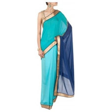 Navy blue and turquoise dual tone sari available only at Pernia's Pop-Up Shop.
