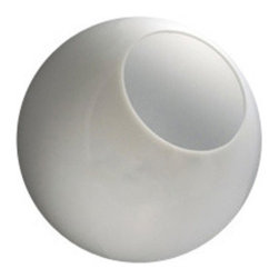 "18 Inch White Acrylic Globes with a 7 Inch Opening - ""Globes are 18 inches��in diameter, one piece injection blow molded polycarbonate with UV inhibitors to help prevent yellowing.  They have a 7 inch neckless opening.  This is a custom opening and is not returnable."""