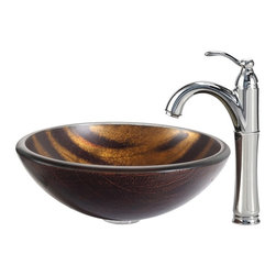 Kraus - Kraus Bastet Glass Vessel Sink and Riviera Faucet Chrome - *The warm coppery tones and contrasting dark brown stripes of the Bastet sink have a soft sheen; running water turns the matte exterior to a vibrant, shiny surface. Pair it with a Riviera faucet in chrome for a contemporary edge