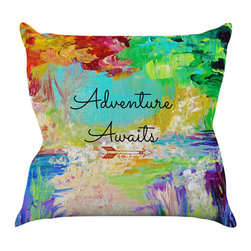 """Kess InHouse - Ebi Emporium """"Adventure Awaits"""" Rainbow Paint Throw Pillow (20"""" x 20"""") - Rest among the art you love. Transform your hang out room into a hip gallery, that's also comfortable. With this pillow you can create an environment that reflects your unique style. It's amazing what a throw pillow can do to complete a room. (Kess InHouse is not responsible for pillow fighting that may occur as the result of creative stimulation)."""