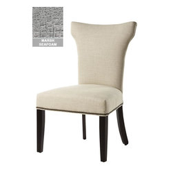 Home Decorators Collection - Custom Contemporary Curved-Back Parsons Chair - Perfect for sitting at the head of your table or even to supplement the seating in your living room or home office, these beautiful chairs offer lasting style that will continue to enhance your space for years to come. With sturdy frames, a classic design and a variety of beautiful upholstery options to choose from, you are sure to love the effect these dining chairs have on your home. Available with either antique brass or shiny chrome nailhead trim. Choose from a wide variety of beautiful upholstery options. Assembled to order in the USA and shipped in about 60 days.