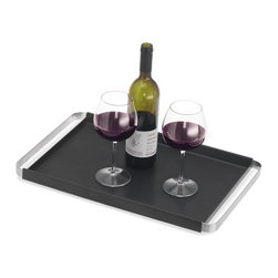 Blomus - Pegos Rectangular Serving Tray in Black - Slip-resistant silicone layer. Made of stainless steel, silicone and plastic. Designed by Floz Design. 1-Year manufacturer's defect warranty. 19.7 in. L x 12.6 in. W x 1.5 in. H