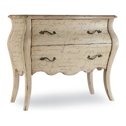 Hooker Furniture - Melange L Inspiration Script Chest - Are you Witty?  Vibrant?  Exuberant?  Bold?  Romantic?  You're sure to find an inspiring adjective to describe your style in this chest adorned with French script.  Two drawers.
